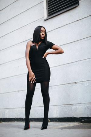 black Wolford tights - black asos dress - black Christian Louboutin pumps