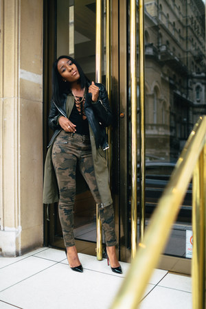 dark green asos jacket - black Zara jacket - black Christian Louboutin heels