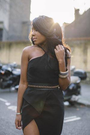 black vlabel dress - black stuart weitzman sandals