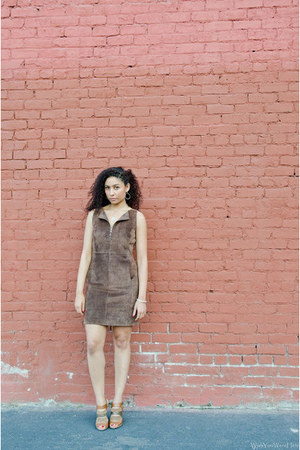 brown suede thrifted from Crossroads dress