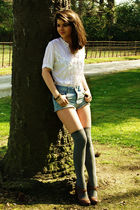 white vintage blouse - blue Topshop shorts