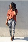 Black-tribal-forever-21-leggings-dark-brown-my-hot-shoes-shoes