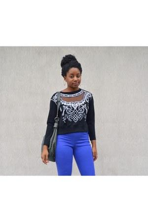 black OASAP top - black kohls boots - blue H&M pants