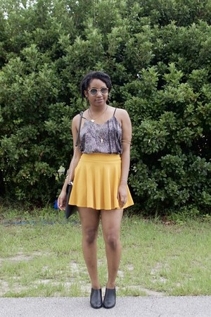 gold AmiClubWear skirt - charcoal gray Rings&Tings accessories