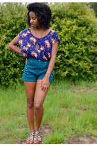 blue TJ Maxx top - teal diy Goodwill shorts - maroon kohls necklace