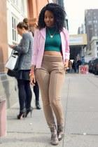 green Boohoo top - light pink Goodwill blazer - dark khaki Boohoo pants