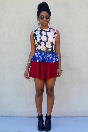 red OASAP skirt - blue floral print OASAP top