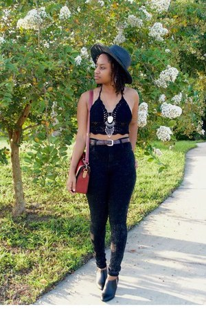 black Boohoo jeans - brick red OASAP bag - black Ebay top