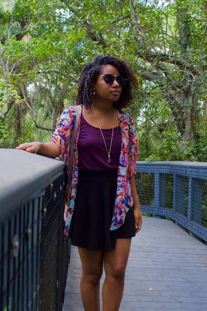 black OASAP skirt - maroon Ross top