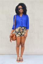 tawny PacSun bag - black floral print sammydress shorts - blue Forever 21 blouse