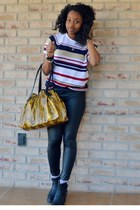 black kohls boots - black OASAP leggings - mustard kohls bag