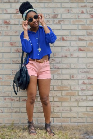 black cotton on bag - bubble gum Target shorts - blue Forever 21 top