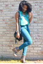 pink kohls boots - teal Forever 21 jeans - black cotton on bag