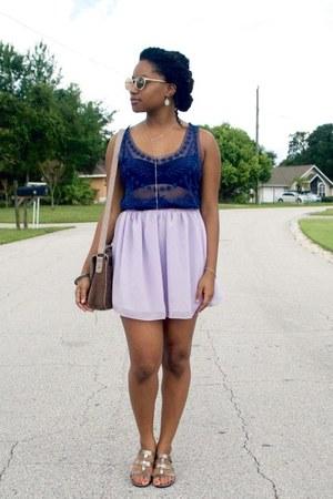 bronze Polette sunglasses - navy kohls top - light purple OASAP skirt