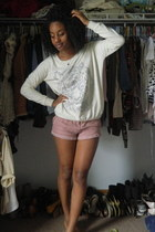 light pink Forever 21 shorts - off white Forever 21 sweater
