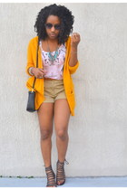 camel Forever 21 shorts - white Forever 21 top - mustard H&M cardigan