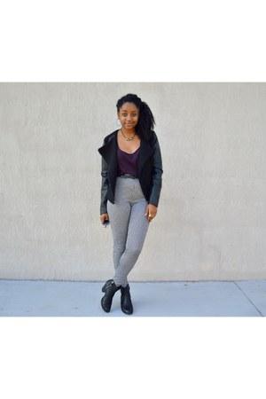 black foymall jacket - white checkered Forever 21 pants - crimson H&M top