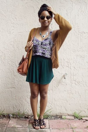 dark green Forever 21 shorts - bronze Forever 21 cardigan - purple PacSun top