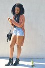 Black-kohls-boots-black-cotton-on-bag-sky-blue-goodwill-shorts