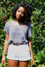 Charcoal-gray-thrifted-top-white-goodwill-shorts-brown-leopard-bealls-belt