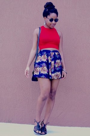 red Boohoo shirt - navy OASAP skirt