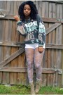 Camel-rue-21-boots-charcoal-gray-goodwill-sweater