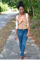 teal Forever 21 jeans - ivory Styles jacket - camel Old Navy top