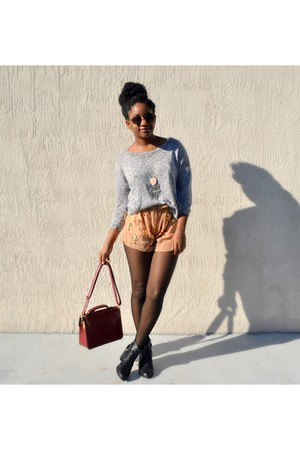 brick red OASAP bag - nude Ebay shorts - silver Shop Lately necklace