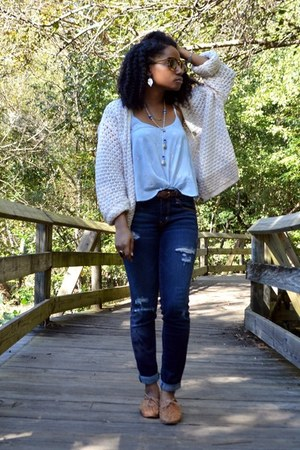 white Goodwill cardigan - sky blue TJ Maxx top