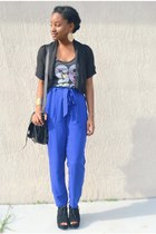 blue Forever 21 pants - black My Hot Shoes wedges - charcoal gray Target top