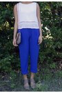 White-shein-top-blue-cato-pants-tan-cato-heels