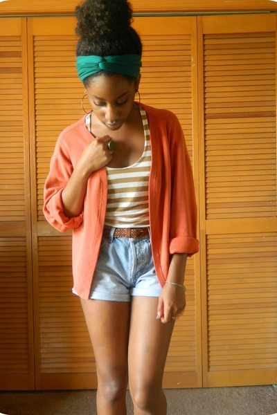 orange Goodwill cardigan - sky blue Goodwill shorts