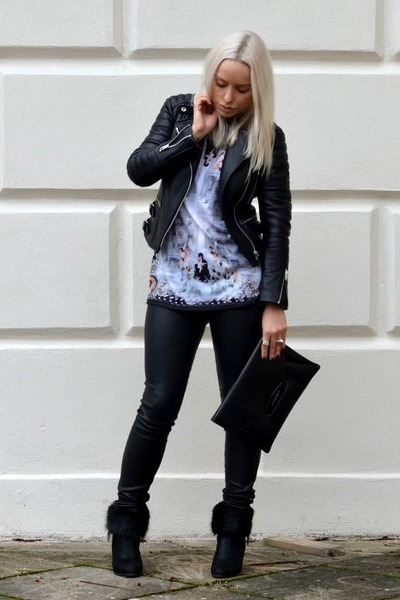 Givenchy bag - Sergio Rossi boots - black Celine jacket - Helmut Lang leggings
