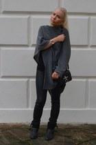 black Mango boots - gray emporio armani sweater - black Helmut Lang leggings