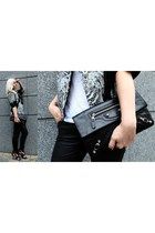 printed Helmut Lang jacket - envelope clutch balenciaga purse - Guess heels