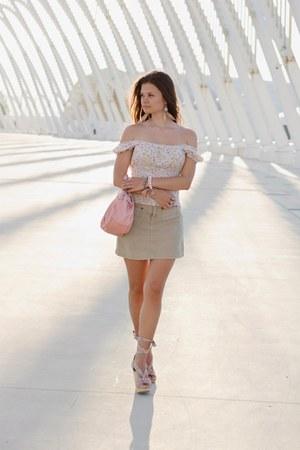 neutral H&M accessories - light pink labrakis bag - beige ONYXnite skirt