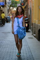 blue Miss Selfridge shoes - white H&M vest - pink reserved scarf - blue Terranov