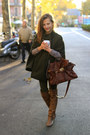 Army-green-zara-coat-brown-coolway-shoes-dark-brown-blanco-bag
