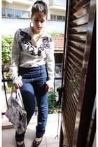 shirt - jeans - floral Gillian bag - black flats - Folie Follie ring