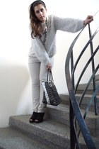 wool blouse - Axel bag - Migato heels - white pants - accessories
