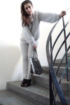 wool blouse - Axel bag - Migato heels - white pants - accessories