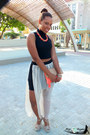 Carrot-orange-clutch-bebe-bag-nude-sandals-heels-black-sheer-skirt