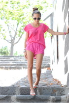 hot pink H&M shorts - hot pink Primark blouse - silver Zara sandals