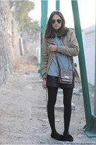dark khaki Primark jacket - black Zara shoes - brown Primark bag