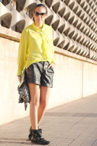 yellow New Yorker blouse - black Ardene boots - black Primark shorts