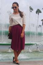 magenta Primark skirt - magenta Cortefiel shoes - magenta Primark bag