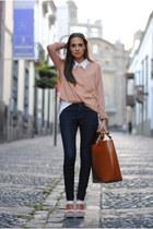 coral Zara t-shirt - navy Zara jeans - white vintage shirt