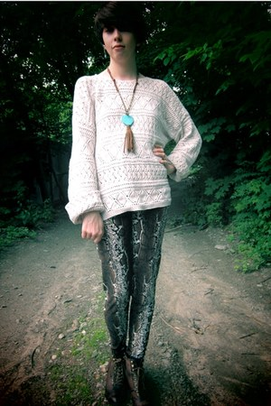 ivory open-knit thrifted sweater - brown Ebay leggings - brown faux-leather Maur