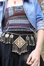 Red-diy-necklace-silver-studded-etsy-boots-sky-blue-denim-thrifted-jacket