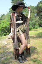 black metal studded Etsy boots - black black floppy Callanan hat - beige crystal